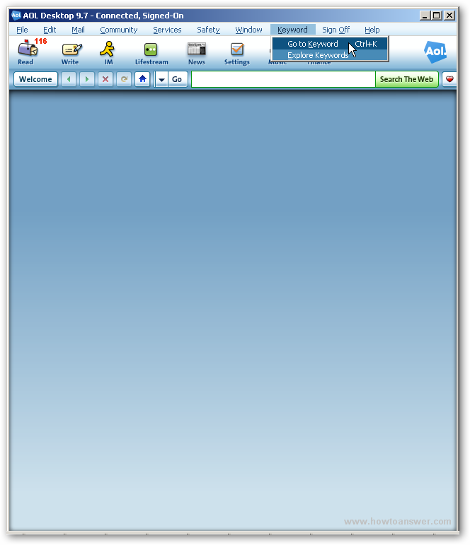 AOL Desktop version 9.7 main interface