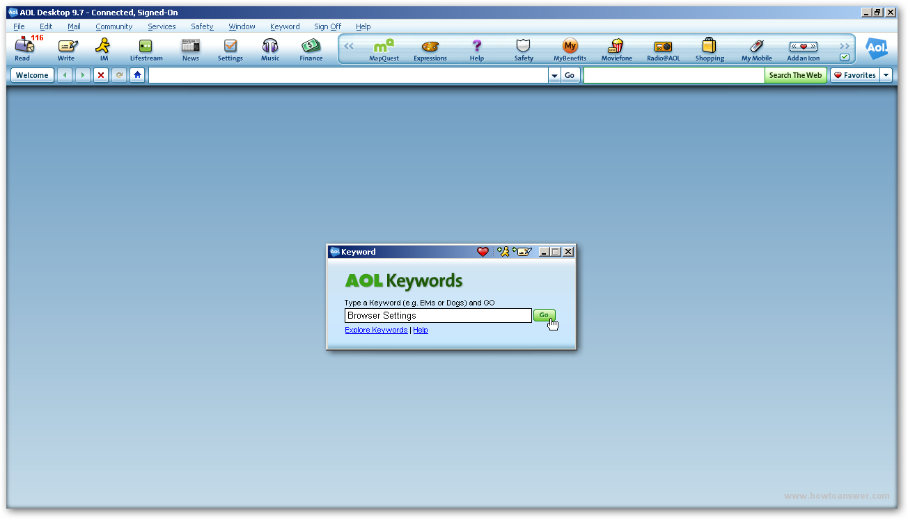 AOL Keywords access window