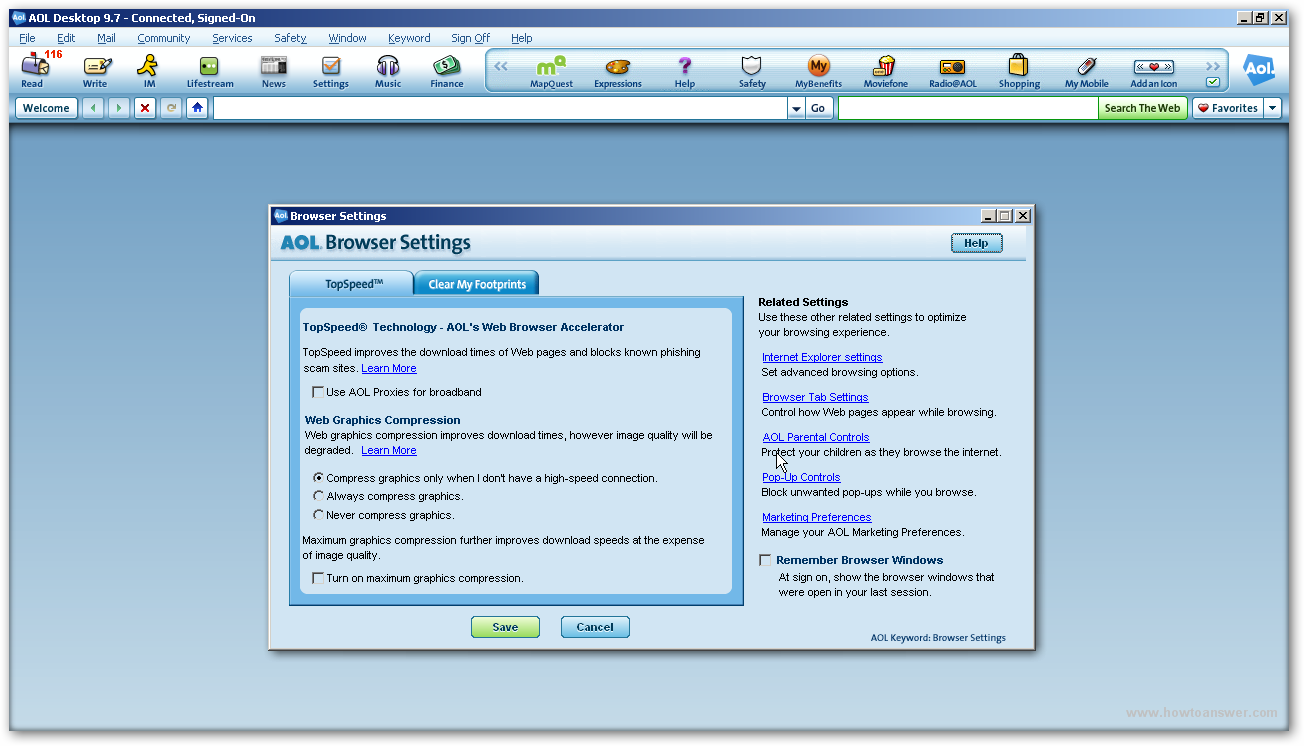 AOL Browser Settings window