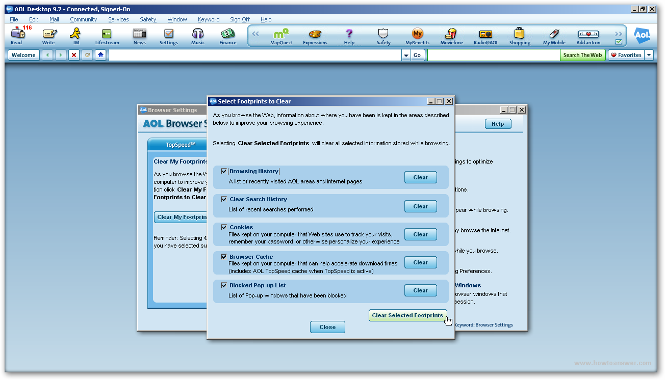 Delete or clear cookies cache and history in AOL browser