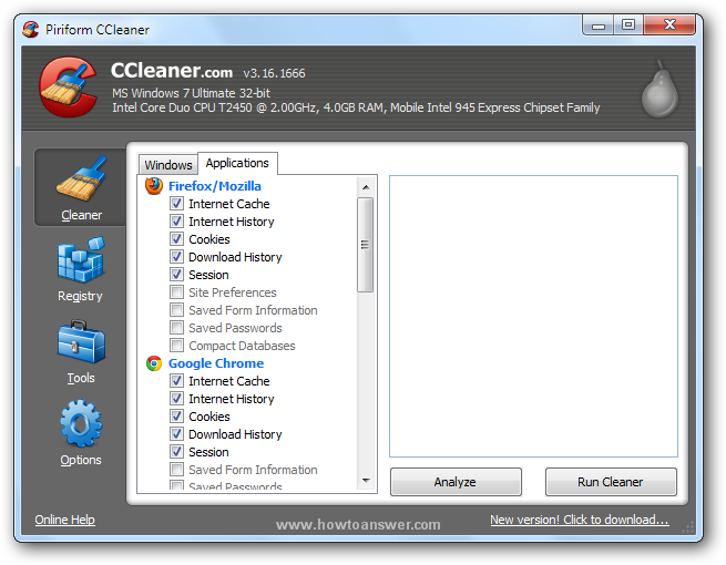 Deleting browser data using CCleaner
