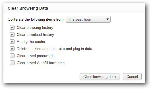 Clear Browsing Data in Google Chrome