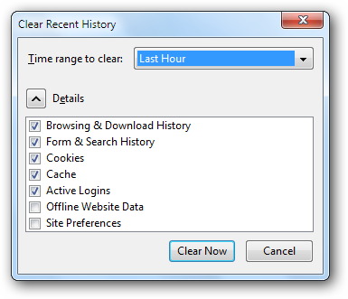 Clear Recent History in Mozilla Firefox