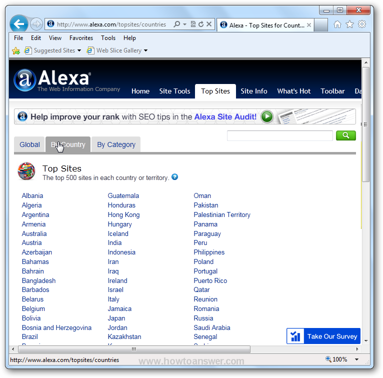 Alexa website - section Top Sites - By Country