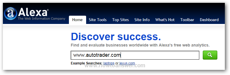 Alexa main page - searching phrase www.autotrader.com