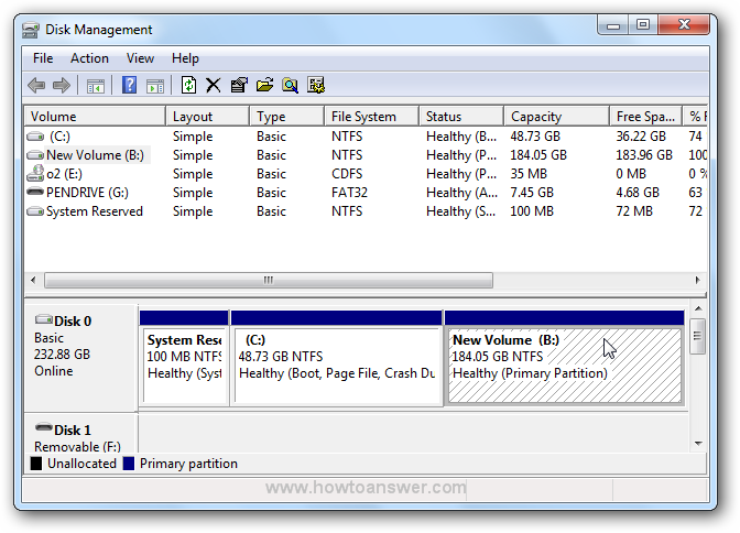 New Volume created and present in Disk Management window