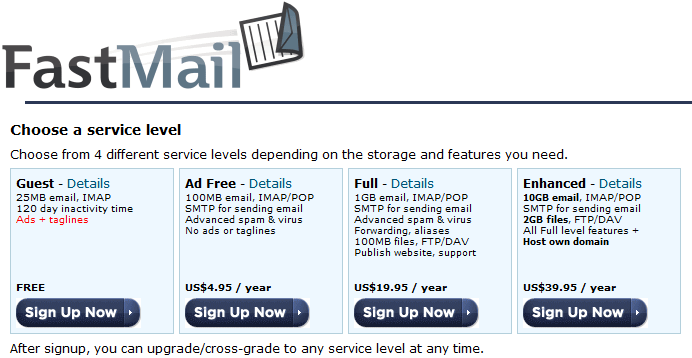 FastMail paid email plans
