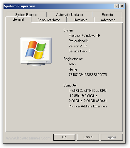 System Properties in Windows XP