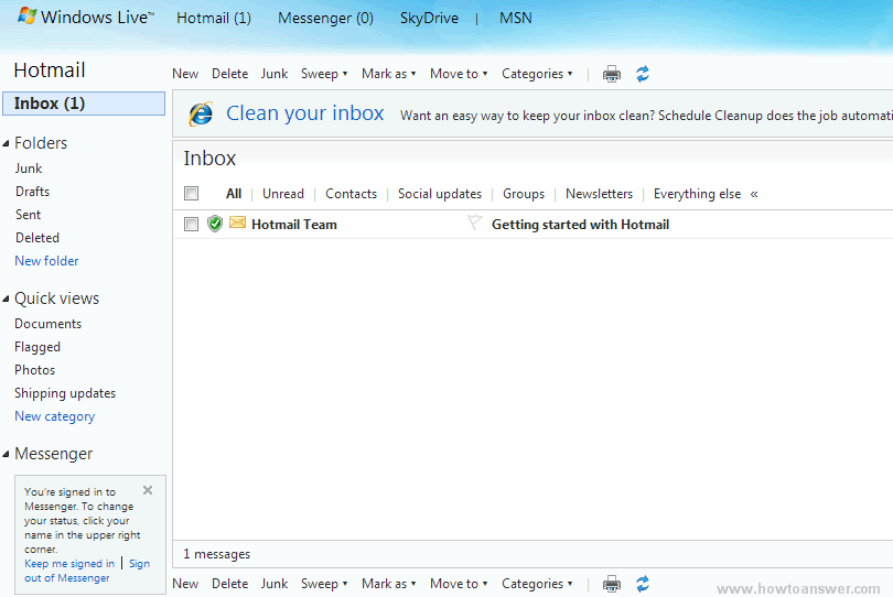 Hotmail inbox first time