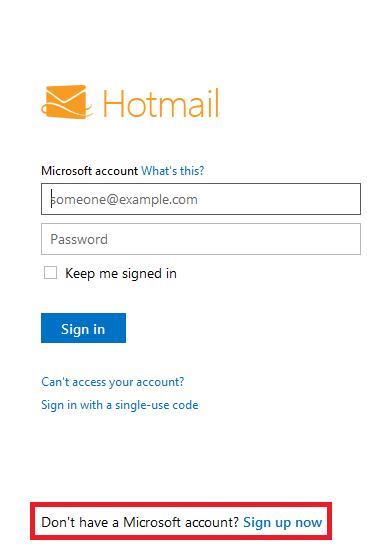 Hotmail sign up now link
