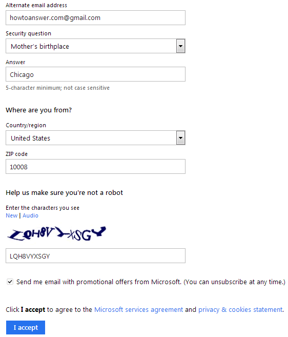 Hotmail signup details