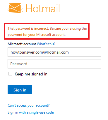 Incorrect Hotmail password