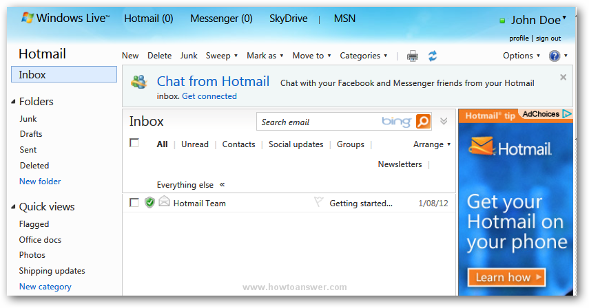 Windows Live Hotmail interface