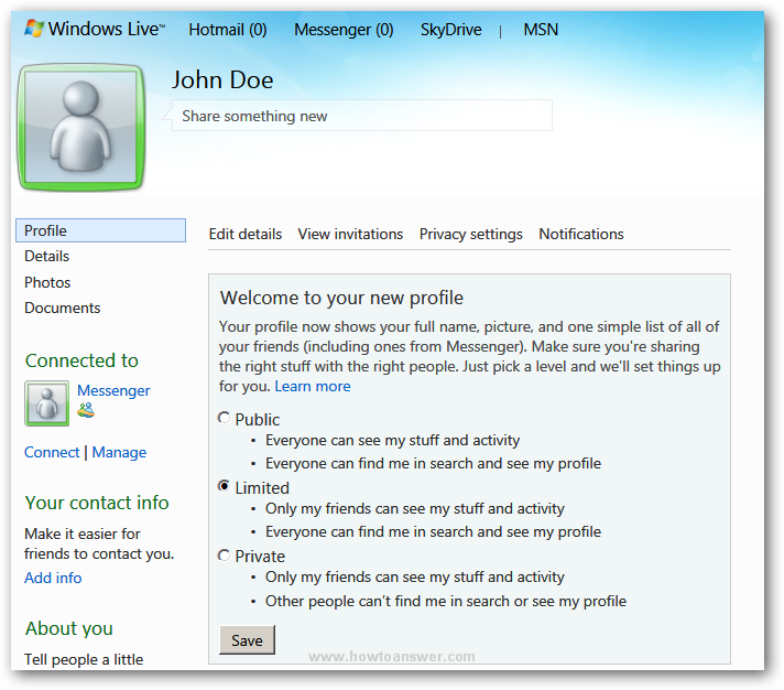 Profile section of a Windows Live Hotmail account