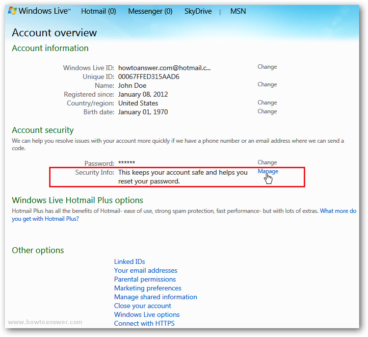 How to add a mobile phone number to a Hotmail Windows Live