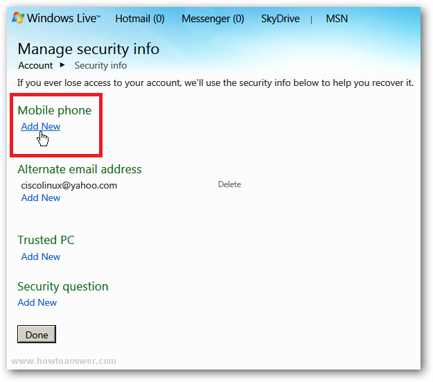 Hotmail mobile live POP3 Settings