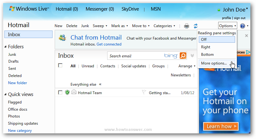 Windows Live - Hotmail interface