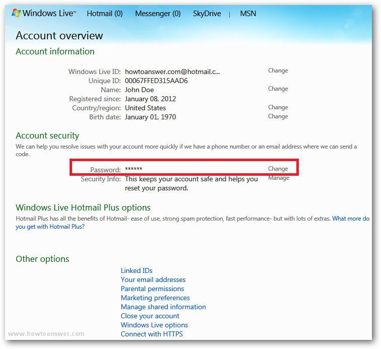 Account overwiew - Account security section in Windows Live Hotmail