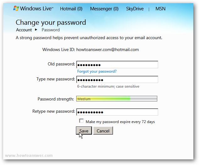 Change your password in Windows Live Hotmail