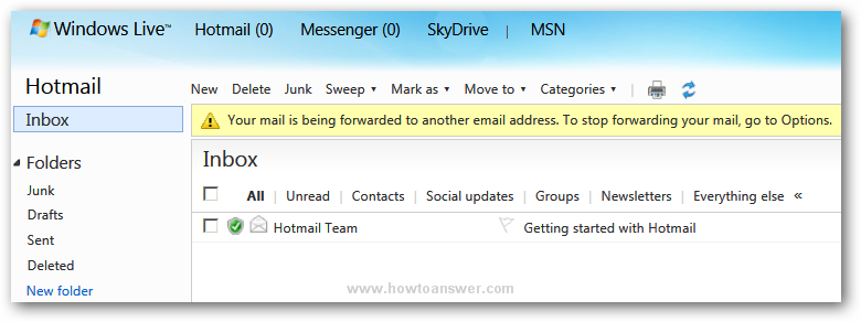 live windows mail how to automatically forward emails