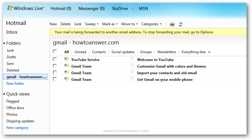 The content of a Gmail folder inside Hotmail Windows Live account
