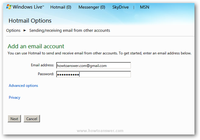 Add an email address and password in Hotmail