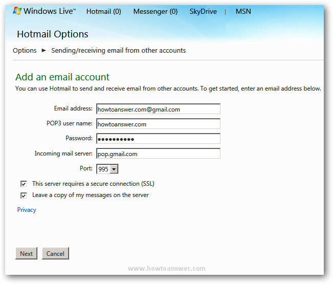 Adding POP3 user name password email and incoming mail server in Hotmail