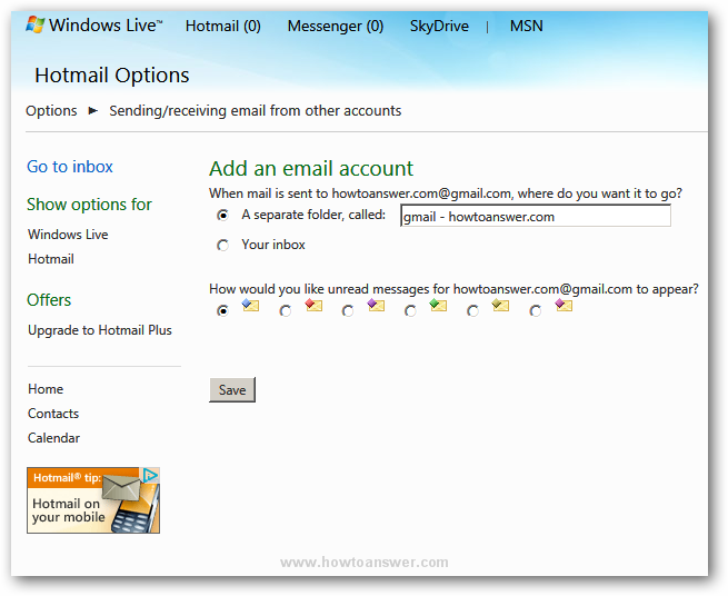 Managing email account options in Hotmail