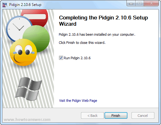 Completing Pidgin setup wizard