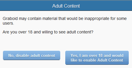 Adult content warning message