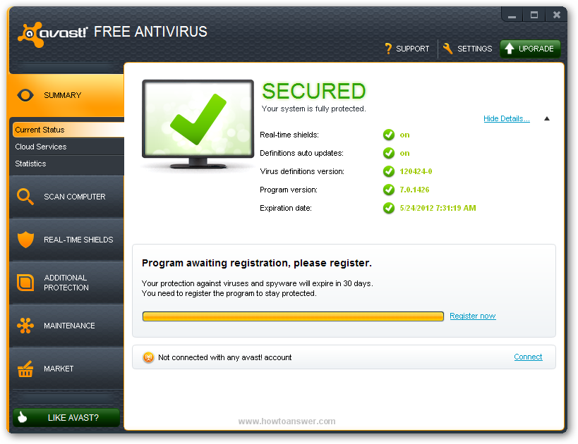 Avast Free Antivirus main interface