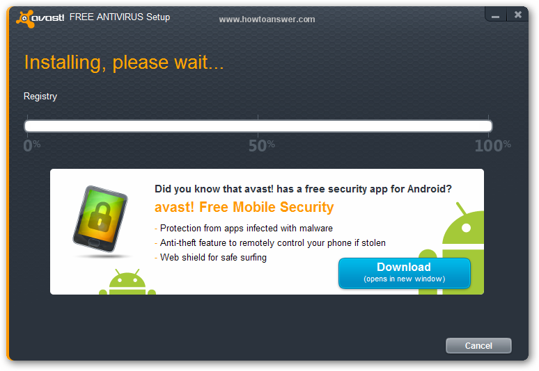Installing, please wait while Avast Antivirus is being installed