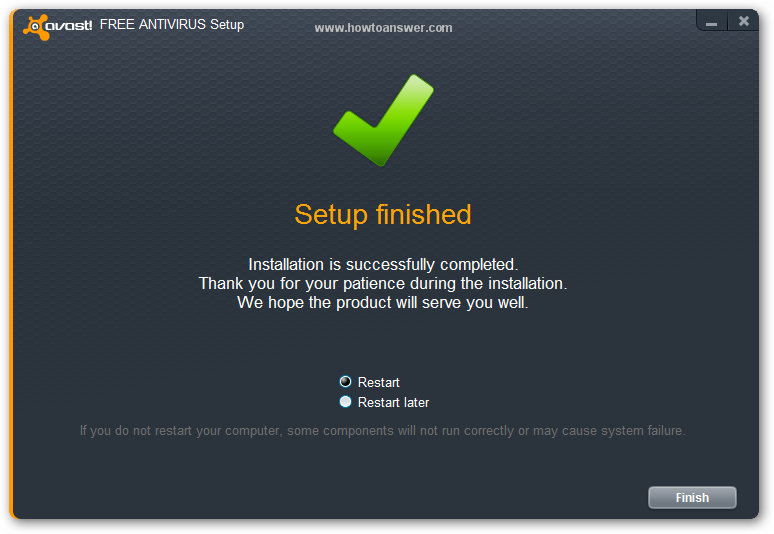 Setup Finished - Avast is now installed - Computer Restart is required