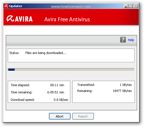 Avira Free Antivirus updating