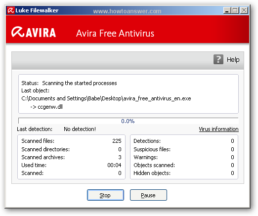 Avira performing a quick scan
