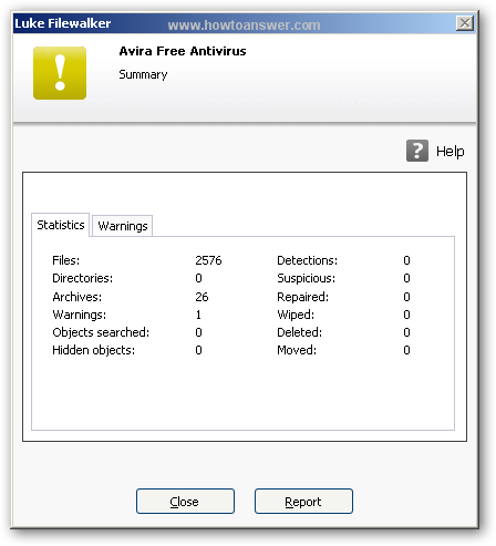 Avira Free quick scan results