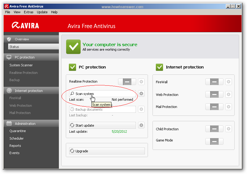 Scan system with Avira Antivirus