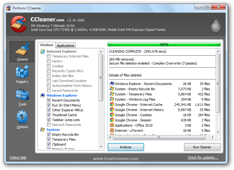Cleaning complete message from CCleaner interface