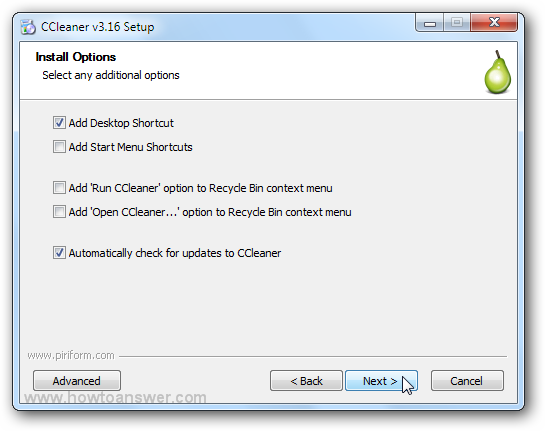 CCleaner Install Options