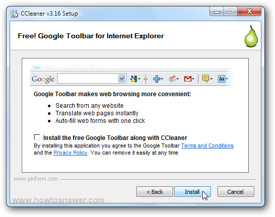 Free Google Toolbar for Internet Explorer