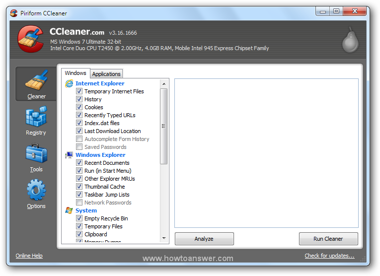 CCleaner main program interface