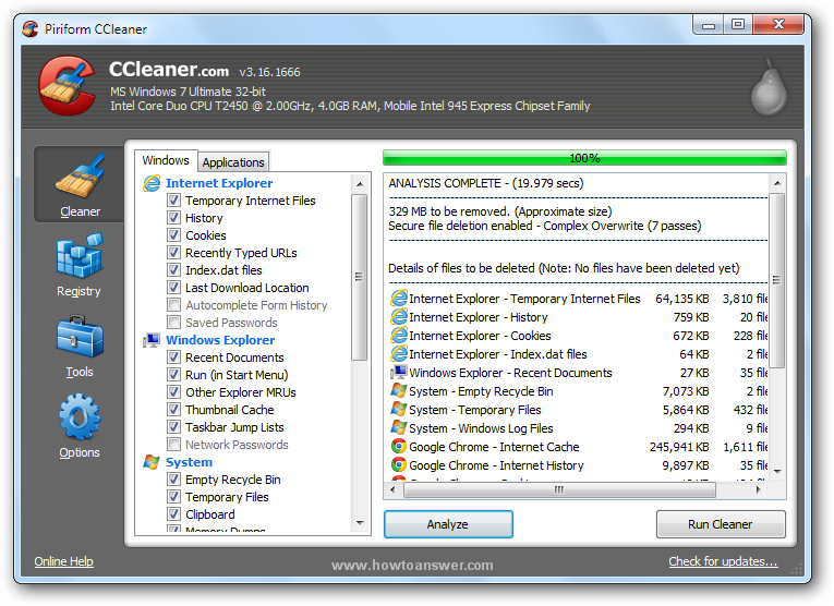 Performing an Analysis with CCleaner