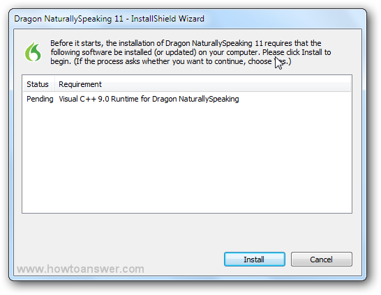 Pending Visual C++ 9.0 Runtime for Dragon NaturallySpeaking