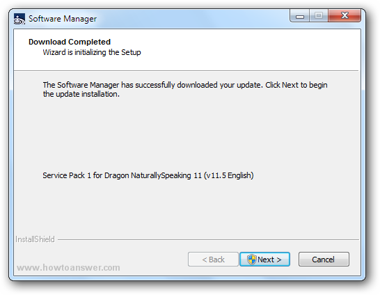 Dragon Software Manager has completed the download