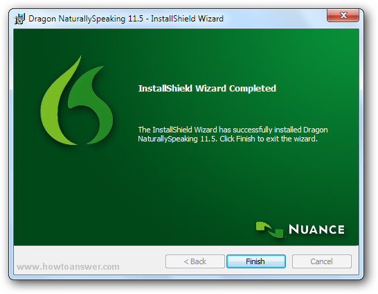 The installation and update of Dragon NaturallySpeaking is now complete