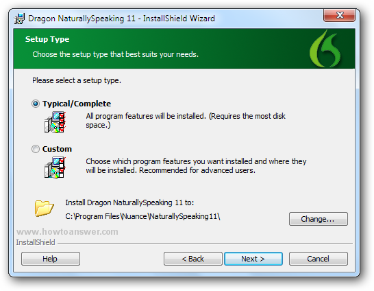 Choose between typical-complete or custom when installing Dragon