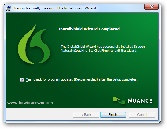 InstallShield Wizard Completed - Dragon is asking to check for program updates