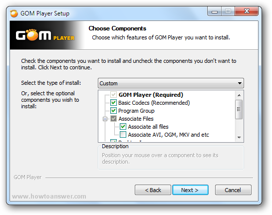 Gom Player choose which features to install window