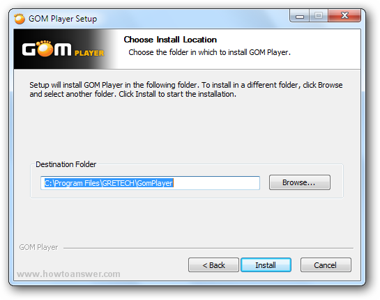 Choose install location of Gom Player