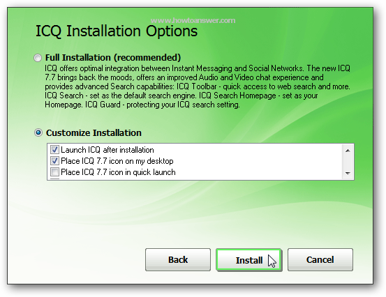 How to install ICQ without his toolbar
